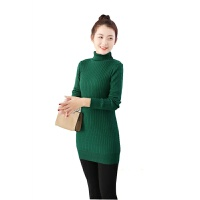 秋冬高领加绒毛衣女中长款加厚保暖打底衫长袖修身显瘦套头针织衫