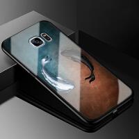 三星galaxy s7手机外壳g9300玻璃保护套盖乐世S7全包防摔软硅胶卡通个性创意时尚情侣简约潮