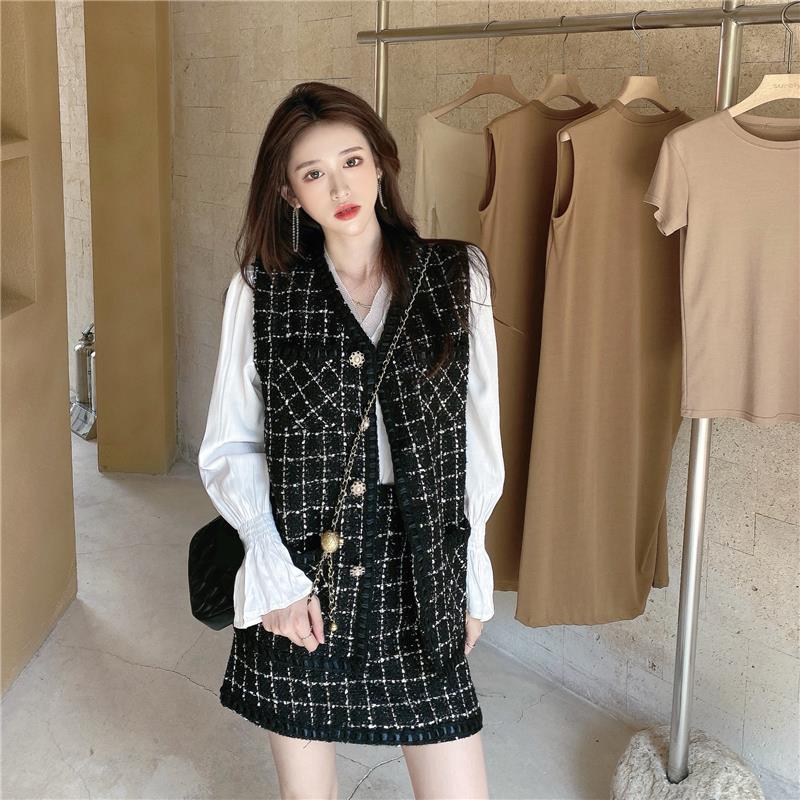 名媛气质套装女秋冬2020新款马甲外套上衣半身短裙休闲时尚两件套