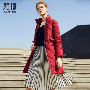 颜域品牌女装欧美2017秋冬季新款立领白鸭绒保暖加厚羽绒服女长款