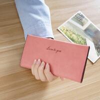 日韩版钱包女长款薄款女士卡包时尚磨砂学生小钱包 西瓜红