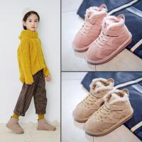粉红小猪女童雪地靴2018冬季新品儿童保暖短靴真皮加棉宝宝靴子潮