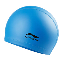 李宁泳帽 男女长发硅胶防水游泳帽 黑色PU成人泳帽专业游泳装备