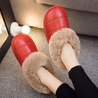 家居棉鞋男冬季毛毛棉拖鞋保暖家居家室内男女家用厚底包跟防滑月子棉鞋 TBP
