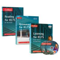 华研原版 柯林斯雅思考试系列套装 英文原版Collins English for IELTS 雅思英语阅读听力语法3本