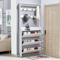 翻斗鞋柜超薄17简约现代门厅柜简易组装家用经济型门口鞋柜带衣架