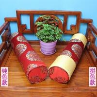新款中式红木沙发方扶手枕头罗汉床坐垫圆枕抱枕腰枕方枕靠枕含芯