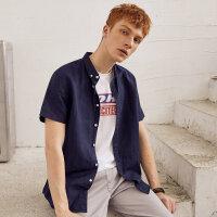 【1件2折到手价:22】美特斯邦威短袖衬衫男夏季新款方领棉麻纯色衬衣