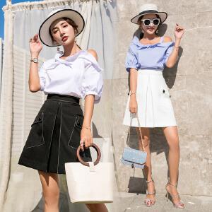 风轩衣度 露肩个性百搭甜美淑女简约修身显瘦短袖中长款2018年夏季套装/套裙 2505-869