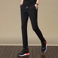 夏季新款男士黑色休闲裤子男潮流韩版修身薄款秋季小脚运动裤