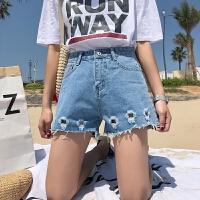 牛仔短裤女学生2018夏装韩版chic高腰显瘦阔腿裤破洞百搭女装短裤 浅蓝色