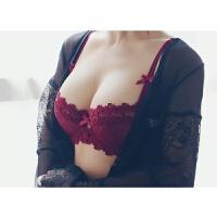 全透明文胸半杯刺绣性感蕾丝黑红色内衣套装 1