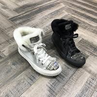 欧洲风格站2017秋冬新款女鞋羊皮毛一体水钻厚底系带高帮鞋保暖鞋