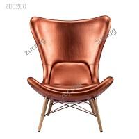 ZUCZUG创意红棕色车线单椅弧线靠背懒人椅艺术FIN北欧皮艺单人椅沙发椅书房客厅创意办公 古铜色