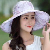 帽子女夏天可折叠大沿遮阳帽韩版潮太阳帽出游防晒海边沙滩帽
