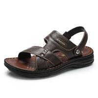 camel 骆驼牌男鞋 2018夏季舒适真皮凉鞋男士耐磨防滑凉拖鞋休闲沙滩鞋