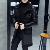 男士中长款皮衣修身型韩版帅气新款冬季加绒加厚皮毛一体风衣外套