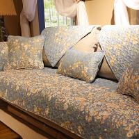 美式小碎花四季棉沙发垫布艺防滑皮沙发巾靠背垫组合沙发罩