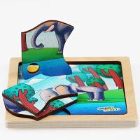 2-3-5周岁儿童宝宝新款早教木制不规则拼图智力积木拼板嵌板