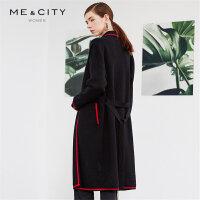 【2件2.5折到手价:208.75】MECITY女装欧美羊毛红黑撞色针织开衫长款外套