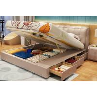 皮床储物多功能皮艺床垫1.8米1.5米小户型主卧双人床 +2柜+5D薰衣草乳胶垫 1800mm*2000mm 气压结构