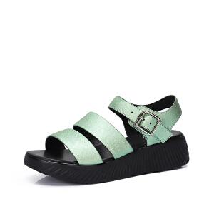 骆驼女鞋 2018夏季新品 真皮凉鞋女平底厚底舒适厚底减龄休闲凉鞋