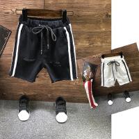 中小童夏季休闲五分裤新款男童织带装饰竖条牛仔短裤A8-A32