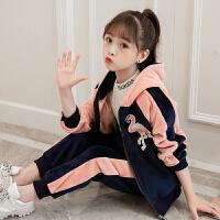 女童金丝绒套装秋冬2018新款韩版双面绒洋气中大童运动时髦两件套 粉红色