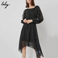 【不打烊价:254.7元】 Lily春新款女装复古黑白圆点不规则中长款连衣裙118339C7949