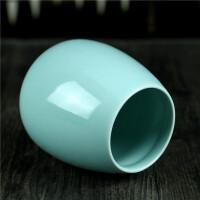 龙泉青瓷文房用具创意文具圆形陶瓷精品多功鼓型办公时尚笔筒