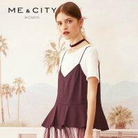 【2件1.5折价:67.4,可叠券】MECITY女装时尚荷叶边可爱粘纤v领小吊带两件套衬衫