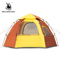 自动帐篷液压弹簧露营免搭建单层4-5人大帐篷户外帐篷六角