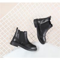 008 牛皮布洛克切尔西女短靴绒里 17新款女靴