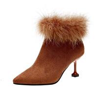 鸵鸟毛2018秋季新款时尚短靴女靴子高跟鞋细跟裸靴马丁靴冬季女鞋真皮