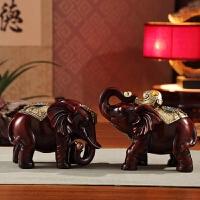 大象摆件一对现代简约客厅家具工艺品摆设家庭装饰室内装饰品 木色 如意象一对