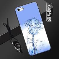 苹果五s手机壳 个性潮流iphone5带挂绳平果5全包边pg5男女5se软套 水晶玫瑰 送支架+挂绳