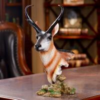 美式复古仿真鹿头树脂工艺品创意墙饰壁挂欧式挂件动物头家居装饰 鹿头摆件 25*17*43cm