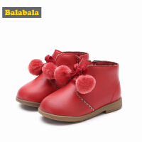 巴拉巴拉儿童靴子女童冬季鞋2018新款保暖短靴冬季鞋潮加绒宝宝鞋