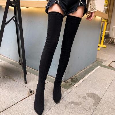 高跟靴子女冬2018新款过膝长靴女尖头超长大腿靴长筒靴大码srr X25-5 筒高60 跟高5厘米