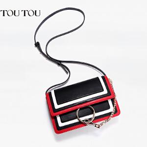 toutou2017新潮款女包圆环链条包时尚百搭撞色小方包单肩斜挎包包