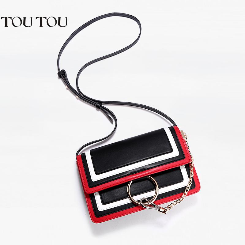 toutou2017新潮款女包圆环链条包时尚百搭撞色小方包单肩斜挎包包撞色拼接 让时尚更出彩