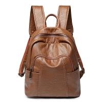 双肩包女韩版新款潮百搭软皮牛皮时尚背包书包休闲旅游妈咪包