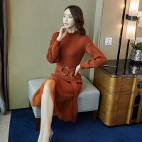 法式复古连衣裙女秋冬季2019新款蕾丝过膝毛衣裙子两件套装洋气潮