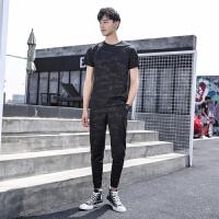 夏天短袖t恤男士套装迷彩运动休闲九分裤韩版潮流体��上衣两件套/