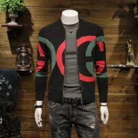 SA5M秋季2018新品帅气毛衣男士针织衫休闲青年针织开衫外 黑色