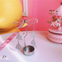 韩国创意个性软萌少女心可爱旋转烛台圣诞麋鹿爱心香薰蜡烛台礼物