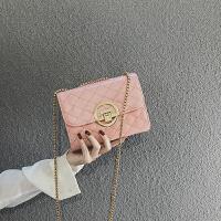 【3折价:64元】网红小黑包包女19新款质感ins单肩斜挎包香风菱格链条包