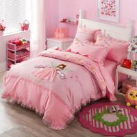 儿童四件套纯棉女孩卡通刺绣贴布绣公主风粉色女孩1.2m1.5米床品 梦幻公主