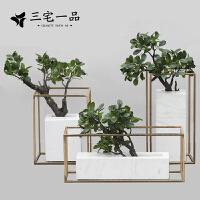 新中式大理石金属框架微观园林榕树盆景石材桌面摆件