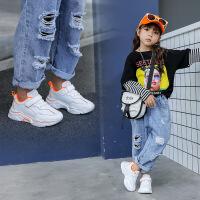 【活动价:69元】女童运动鞋2019秋季新款儿童韩版休闲鞋男童宝宝皮面小白鞋潮